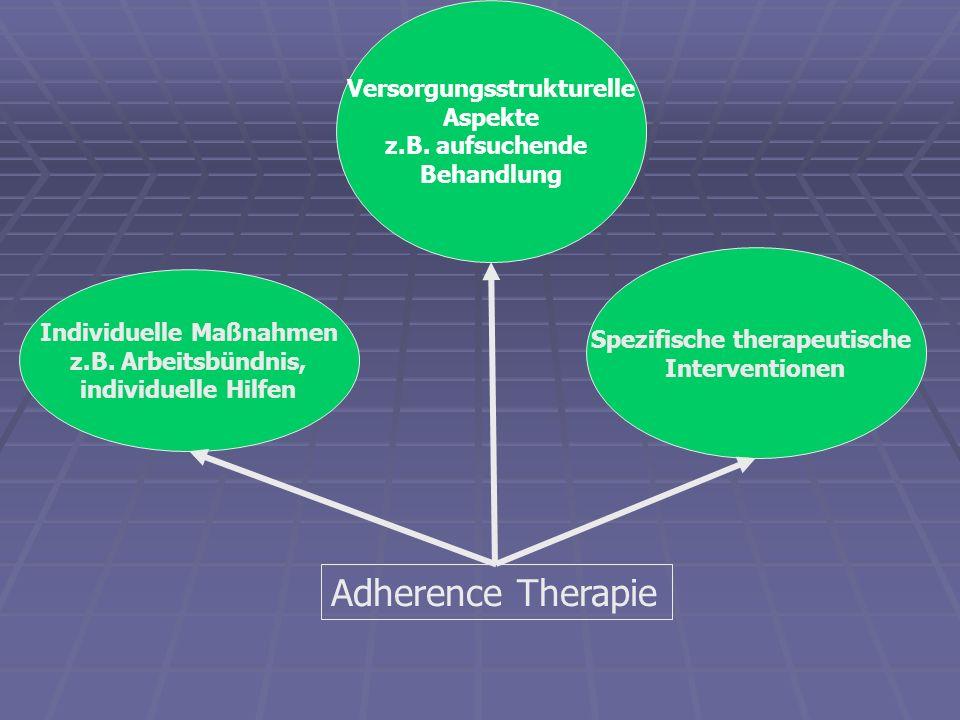 Adherence Therapie Individuelle Maßnahmen z.B. Arbeitsbündnis, individuelle Hilfen Versorgungsstrukturelle Aspekte z.B. aufsuchende Behandlung Spezifi