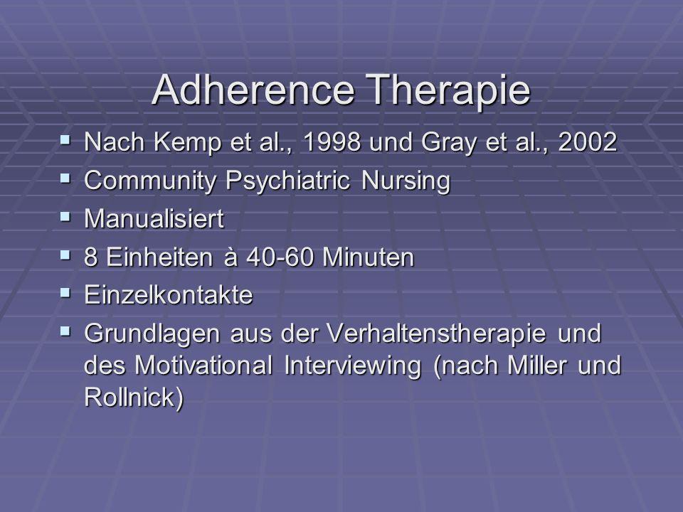 Adherence Therapie Nach Kemp et al., 1998 und Gray et al., 2002 Nach Kemp et al., 1998 und Gray et al., 2002 Community Psychiatric Nursing Community P