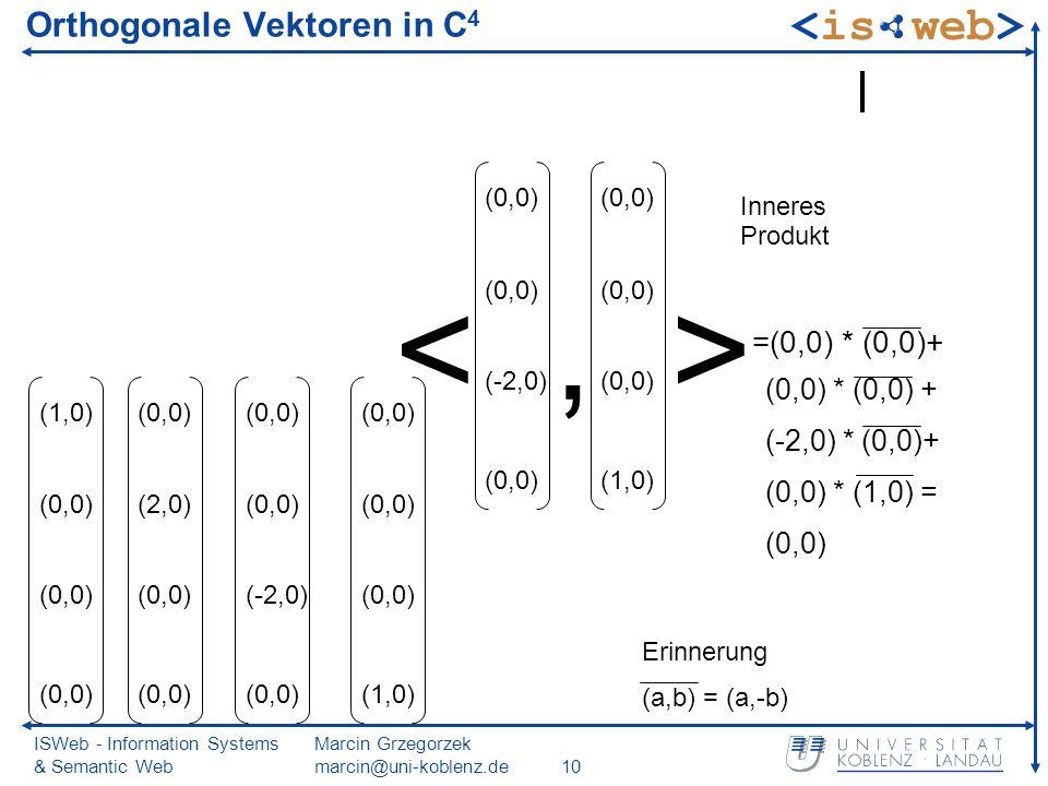 ISWeb - Information Systems & Semantic Web Marcin Grzegorzek marcin@uni-koblenz.de10 Orthogonale Vektoren in C 4 (1,0) (0,0) (2,0) (0,0) (-2,0) (0,0)
