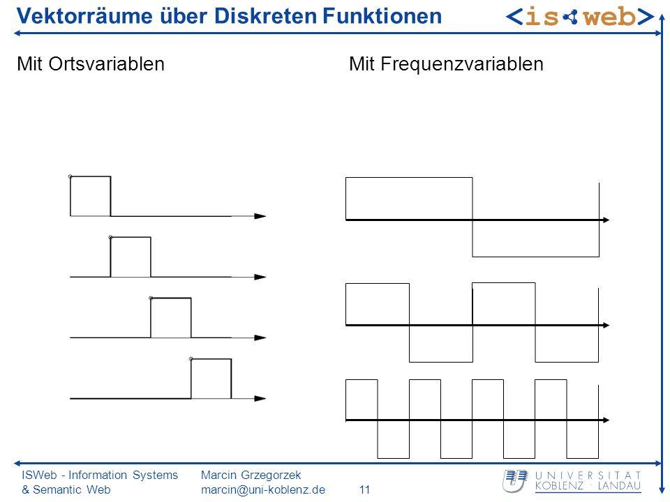 ISWeb - Information Systems & Semantic Web Marcin Grzegorzek marcin@uni-koblenz.de11 Vektorräume über Diskreten Funktionen Mit OrtsvariablenMit Freque