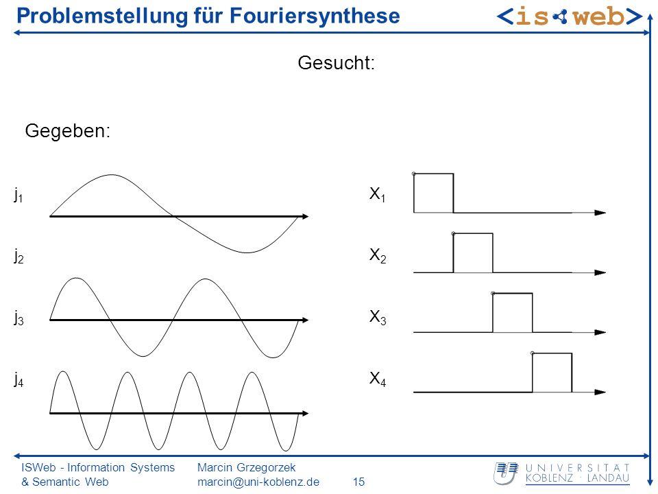 ISWeb - Information Systems & Semantic Web Marcin Grzegorzek marcin@uni-koblenz.de15 Problemstellung für Fouriersynthese Gegeben: Gesucht: j1j2j3j4j1j2j3j4 X1X2X3X4X1X2X3X4