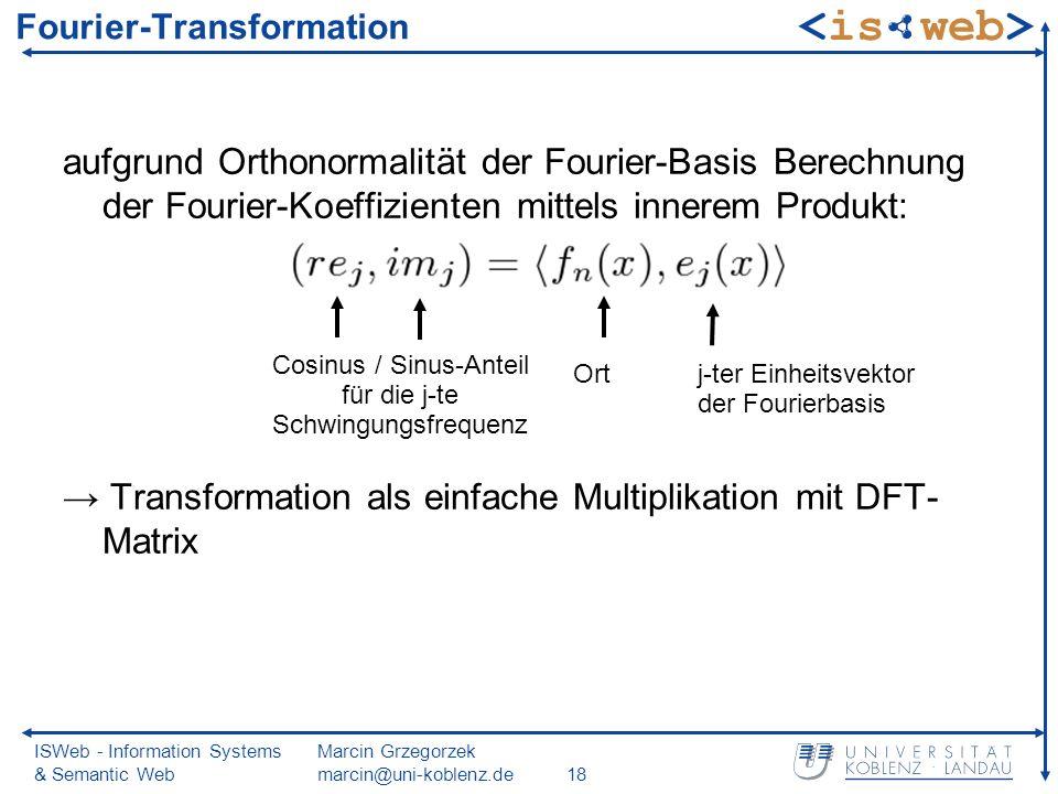ISWeb - Information Systems & Semantic Web Marcin Grzegorzek marcin@uni-koblenz.de18 Fourier-Transformation aufgrund Orthonormalität der Fourier-Basis