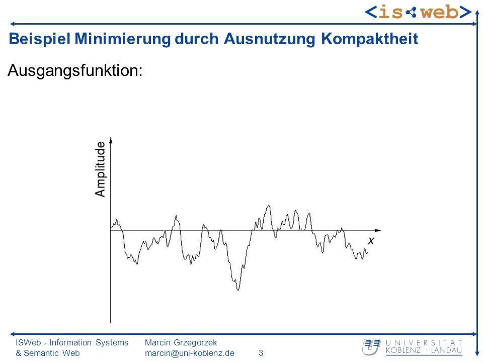 ISWeb - Information Systems & Semantic Web Marcin Grzegorzek marcin@uni-koblenz.de3 Beispiel Minimierung durch Ausnutzung Kompaktheit Ausgangsfunktion: