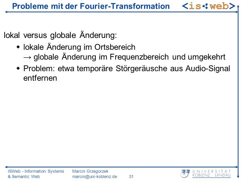 ISWeb - Information Systems & Semantic Web Marcin Grzegorzek marcin@uni-koblenz.de31 Probleme mit der Fourier-Transformation lokal versus globale Ände