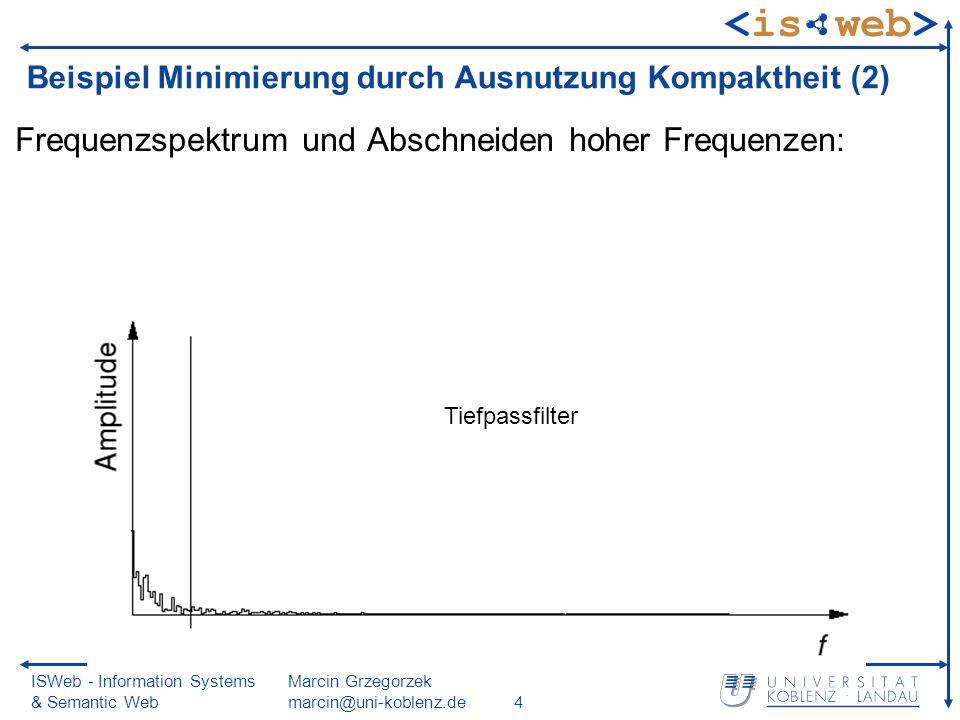 ISWeb - Information Systems & Semantic Web Marcin Grzegorzek marcin@uni-koblenz.de4 Beispiel Minimierung durch Ausnutzung Kompaktheit (2) Frequenzspektrum und Abschneiden hoher Frequenzen: Tiefpassfilter