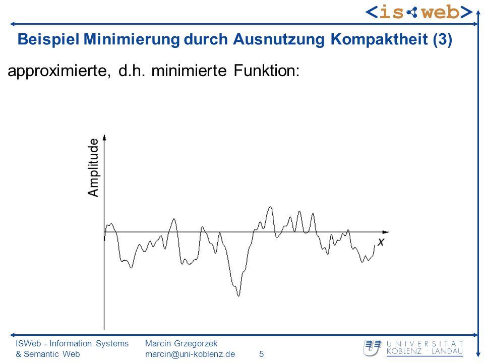 ISWeb - Information Systems & Semantic Web Marcin Grzegorzek marcin@uni-koblenz.de26 Eigenschaften der DFT (4) Kompaktheit weißes Rauschen: geringste Kompaktheit schwarzes Rauschen: sehr glatt, etwa Flusspegelstände braunes Rauschen: etwa Verlauf von Aktienkursen