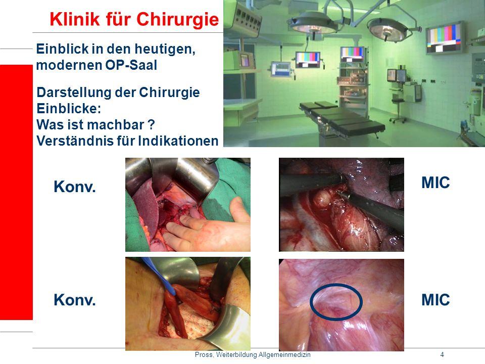 Pross, Weiterbildung Allgemeinmedizin4 Klinik für Chirurgie Einblick in den heutigen, modernen OP-Saal Darstellung der Chirurgie Einblicke: Was ist ma