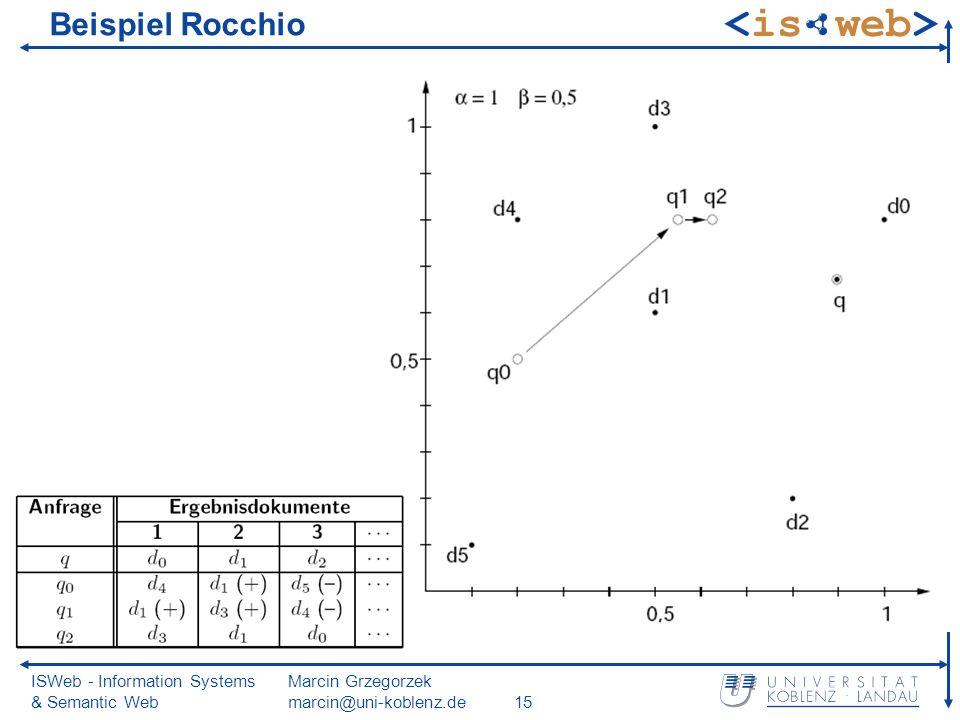 ISWeb - Information Systems & Semantic Web Marcin Grzegorzek marcin@uni-koblenz.de15 Beispiel Rocchio