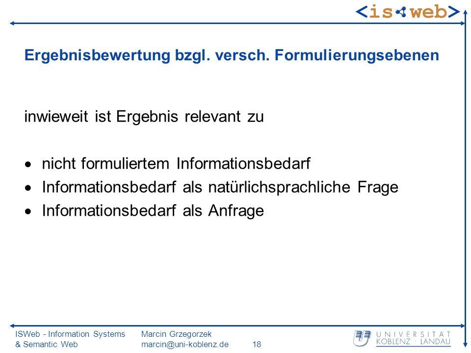 ISWeb - Information Systems & Semantic Web Marcin Grzegorzek marcin@uni-koblenz.de18 Ergebnisbewertung bzgl. versch. Formulierungsebenen inwieweit ist