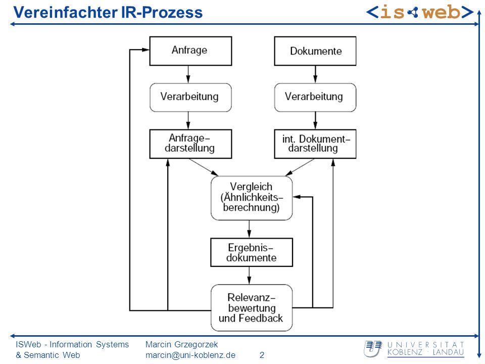 ISWeb - Information Systems & Semantic Web Marcin Grzegorzek marcin@uni-koblenz.de2 Vereinfachter IR-Prozess