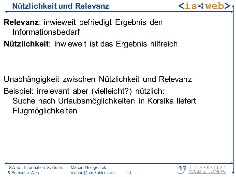 ISWeb - Information Systems & Semantic Web Marcin Grzegorzek marcin@uni-koblenz.de20 Nützlichkeit und Relevanz Relevanz: inwieweit befriedigt Ergebnis