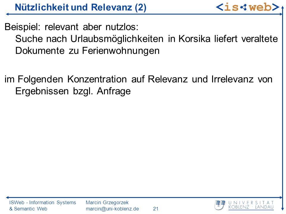ISWeb - Information Systems & Semantic Web Marcin Grzegorzek marcin@uni-koblenz.de21 Nützlichkeit und Relevanz (2) Beispiel: relevant aber nutzlos: Su