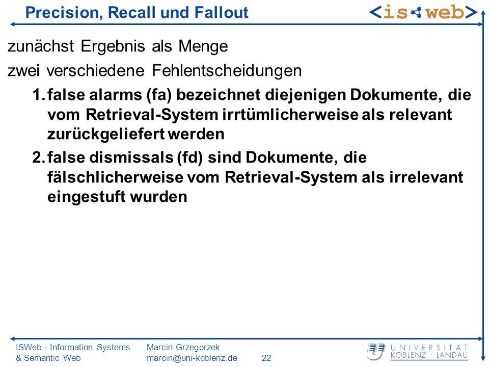 ISWeb - Information Systems & Semantic Web Marcin Grzegorzek marcin@uni-koblenz.de22 Precision, Recall und Fallout zunächst Ergebnis als Menge zwei ve