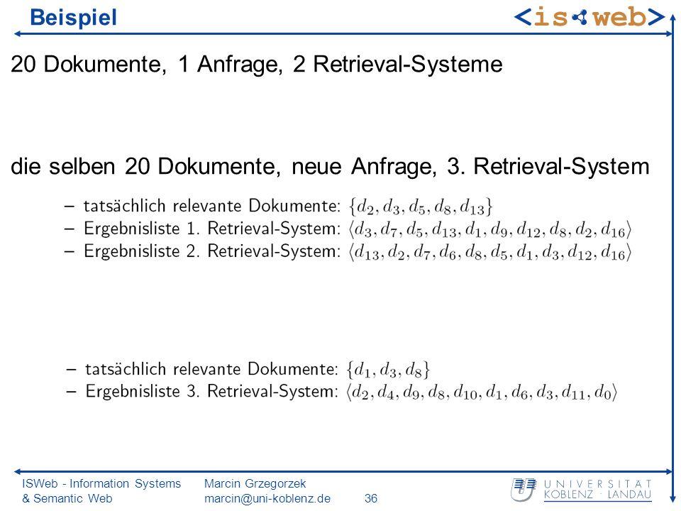 ISWeb - Information Systems & Semantic Web Marcin Grzegorzek marcin@uni-koblenz.de36 Beispiel 20 Dokumente, 1 Anfrage, 2 Retrieval-Systeme die selben