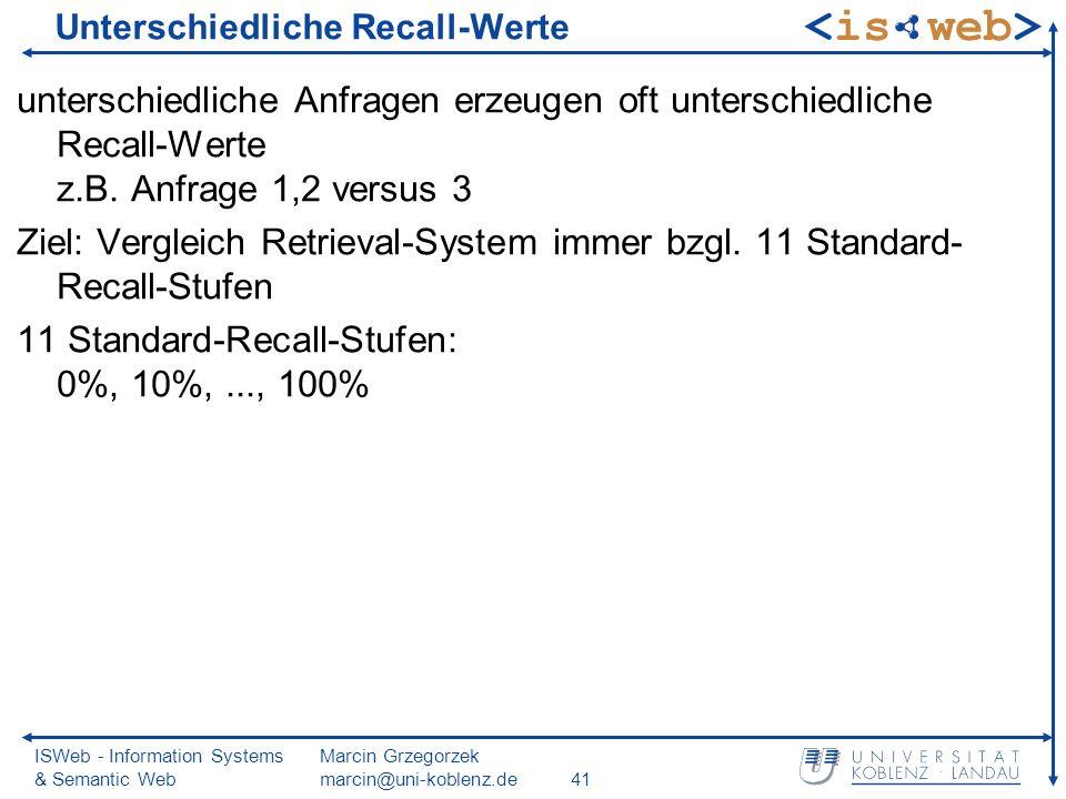ISWeb - Information Systems & Semantic Web Marcin Grzegorzek marcin@uni-koblenz.de41 Unterschiedliche Recall-Werte unterschiedliche Anfragen erzeugen