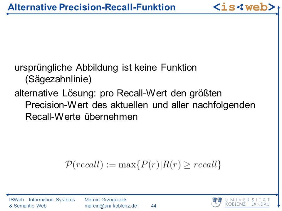 ISWeb - Information Systems & Semantic Web Marcin Grzegorzek marcin@uni-koblenz.de44 Alternative Precision-Recall-Funktion ursprüngliche Abbildung ist