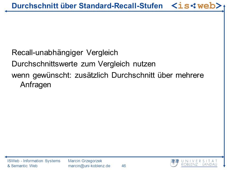 ISWeb - Information Systems & Semantic Web Marcin Grzegorzek marcin@uni-koblenz.de46 Durchschnitt über Standard-Recall-Stufen Recall-unabhängiger Verg