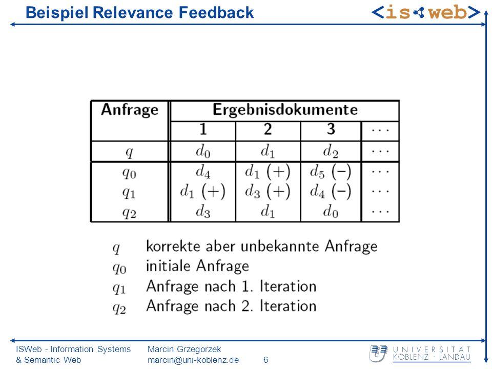 ISWeb - Information Systems & Semantic Web Marcin Grzegorzek marcin@uni-koblenz.de6 Beispiel Relevance Feedback