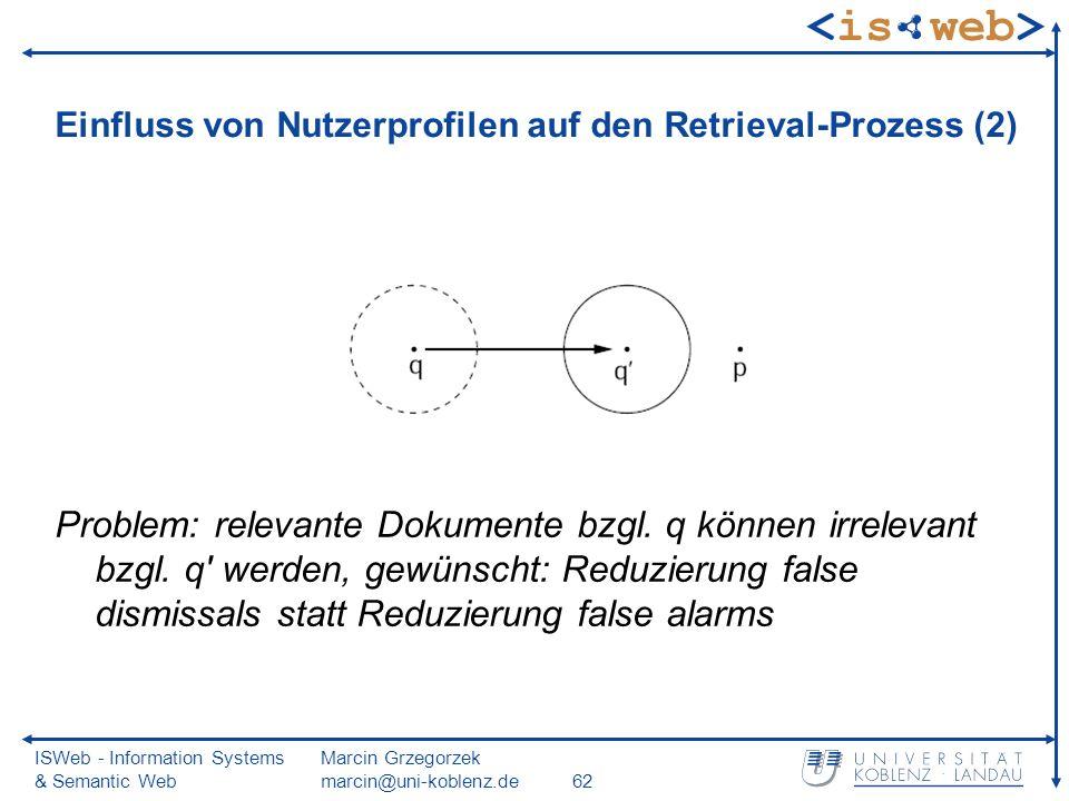ISWeb - Information Systems & Semantic Web Marcin Grzegorzek marcin@uni-koblenz.de62 Einfluss von Nutzerprofilen auf den Retrieval-Prozess (2) Problem