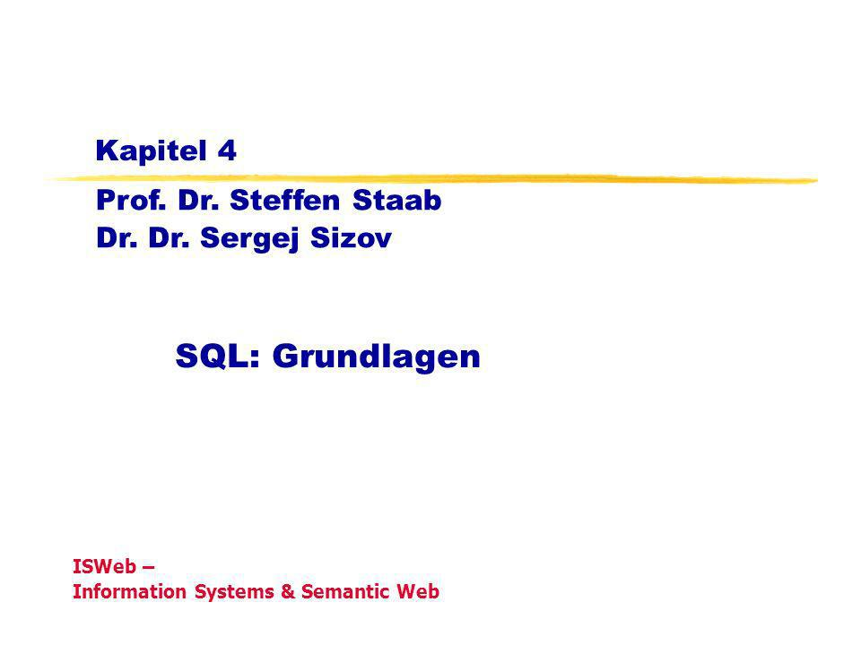 Grundlagen der Datenbanken, WS 08/09Kapitel 4: Grundlagen von SQL12 Auswertung bei Null-Werten In arithmetischen Ausdrücken werden Nullwerte propagiert, d.h.