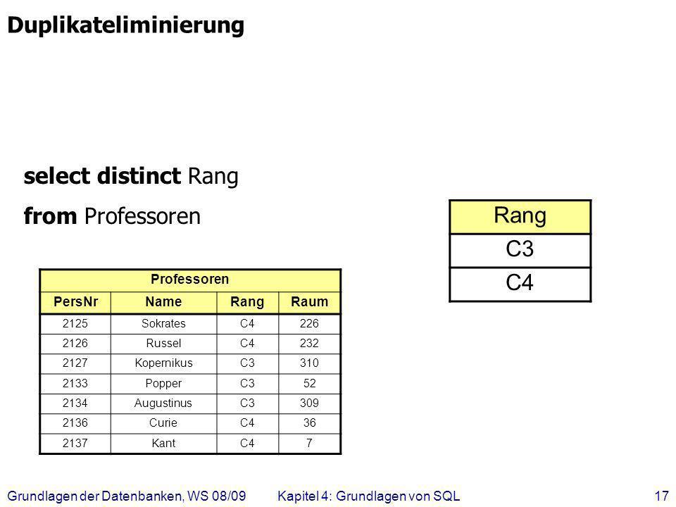 Grundlagen der Datenbanken, WS 08/09Kapitel 4: Grundlagen von SQL17 select distinct Rang from Professoren Rang C3 C4 Duplikateliminierung Professoren
