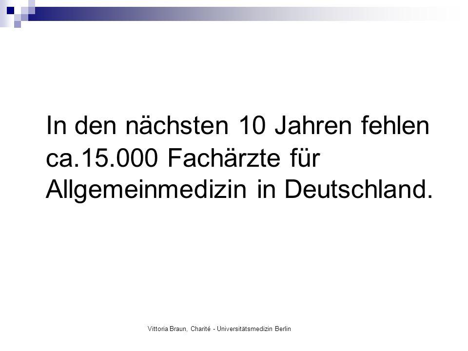 In den nächsten 10 Jahren fehlen ca.15.000 Fachärzte für Allgemeinmedizin in Deutschland. Vittoria Braun, Charité - Universitätsmedizin Berlin
