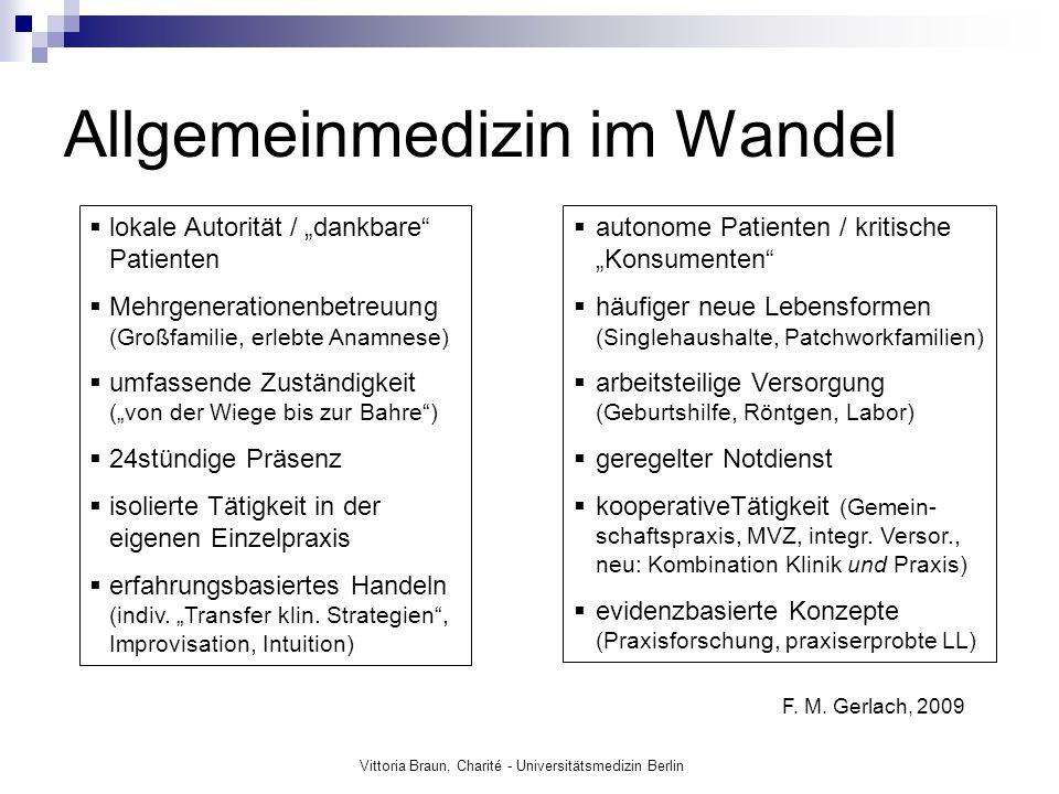 Allgemeinmedizin im Wandel F. M. Gerlach, 2009 lokale Autorität / dankbare Patienten Mehrgenerationenbetreuung (Großfamilie, erlebte Anamnese) umfasse