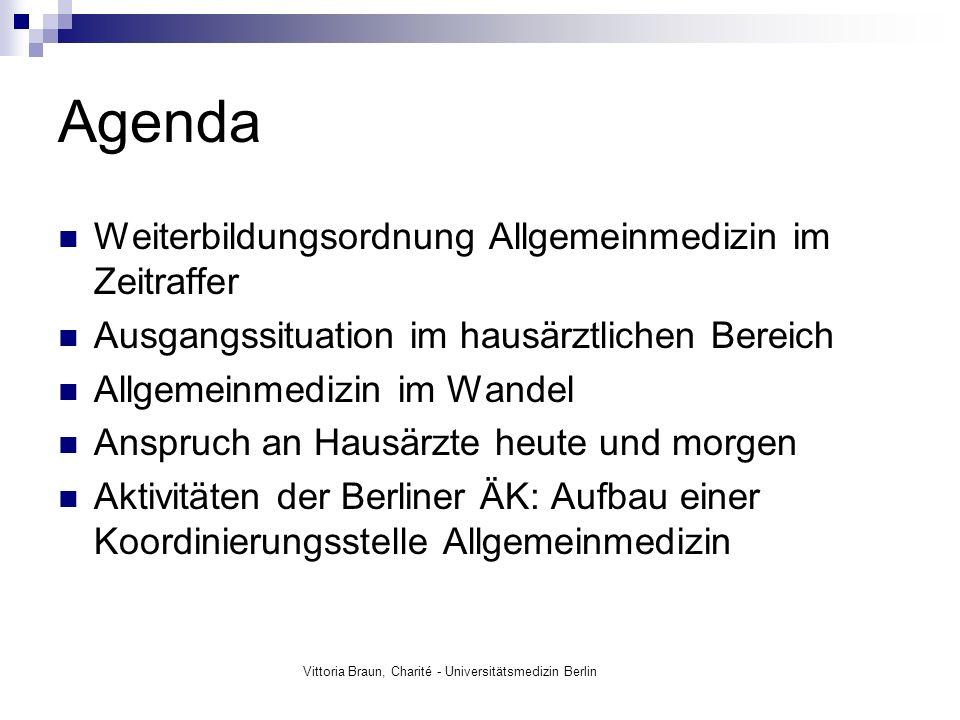 Vittoria Braun, Charité - Universitätsmedizin Berlin 2007 Facharzt für Allgemein- medizin im Land Berlin 1968 Installierung der Weiterbildung zum FA für Allgemeinmedizin - fünfjährige WB in Ostdeutschland - vierjährige WB in Westdeutschland 1993 Dreijährige Pflicht- Weiterbildung als Voraussetzung für die Niederlassung 1997 fünfjährige WB zum FA für Allgemein- medizin 1998 gesetzliche Verankerung der fünfjährigen WB als Beschluss des Initiativprogramms 2002 Facharzt für Innere und Allgemein- medizin 2010 Facharzt für Allgemein- medizin in Deutschld.