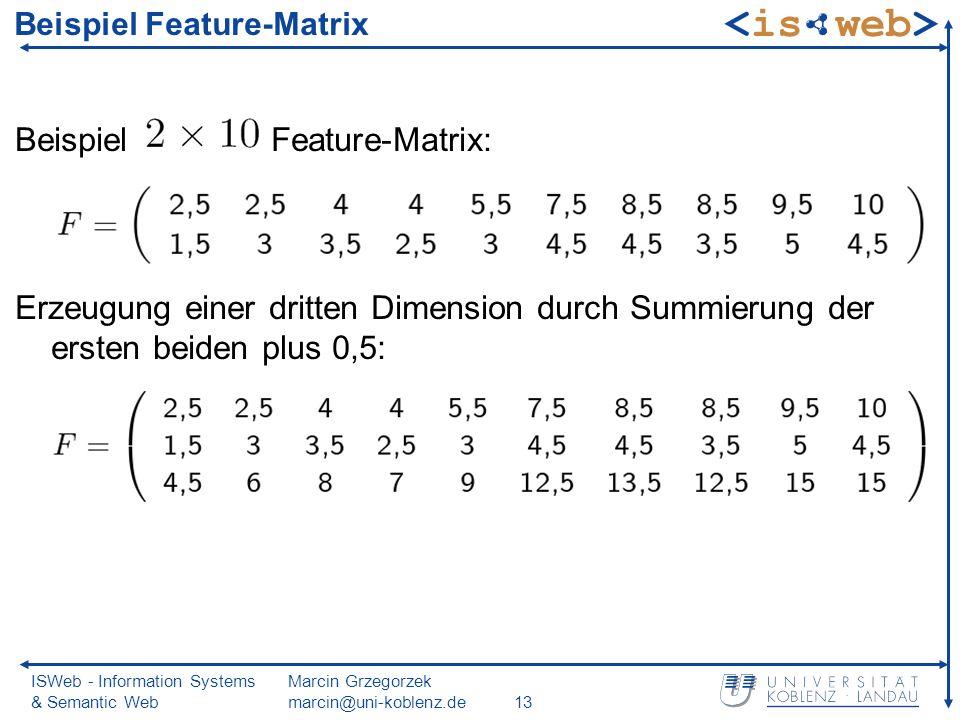 ISWeb - Information Systems & Semantic Web Marcin Grzegorzek marcin@uni-koblenz.de13 Beispiel Feature-Matrix Beispiel Feature-Matrix: Erzeugung einer dritten Dimension durch Summierung der ersten beiden plus 0,5: