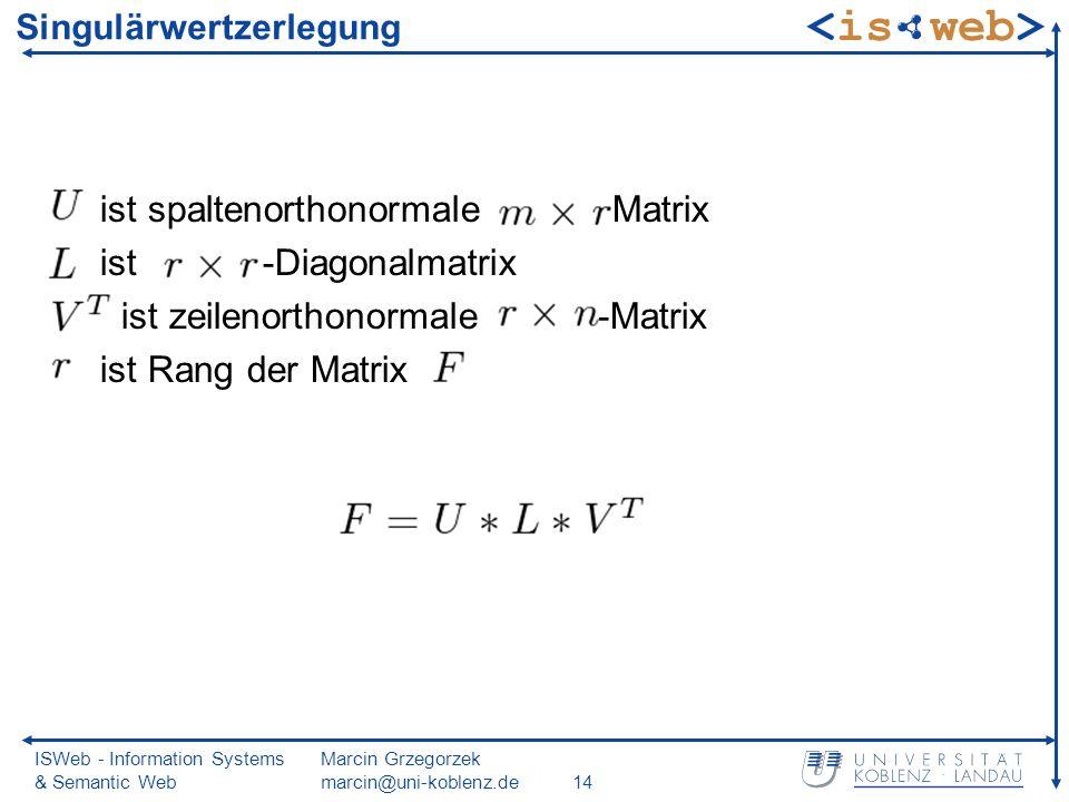 ISWeb - Information Systems & Semantic Web Marcin Grzegorzek marcin@uni-koblenz.de14 Singulärwertzerlegung ist spaltenorthonormale -Matrix ist -Diagonalmatrix ist zeilenorthonormale -Matrix ist Rang der Matrix