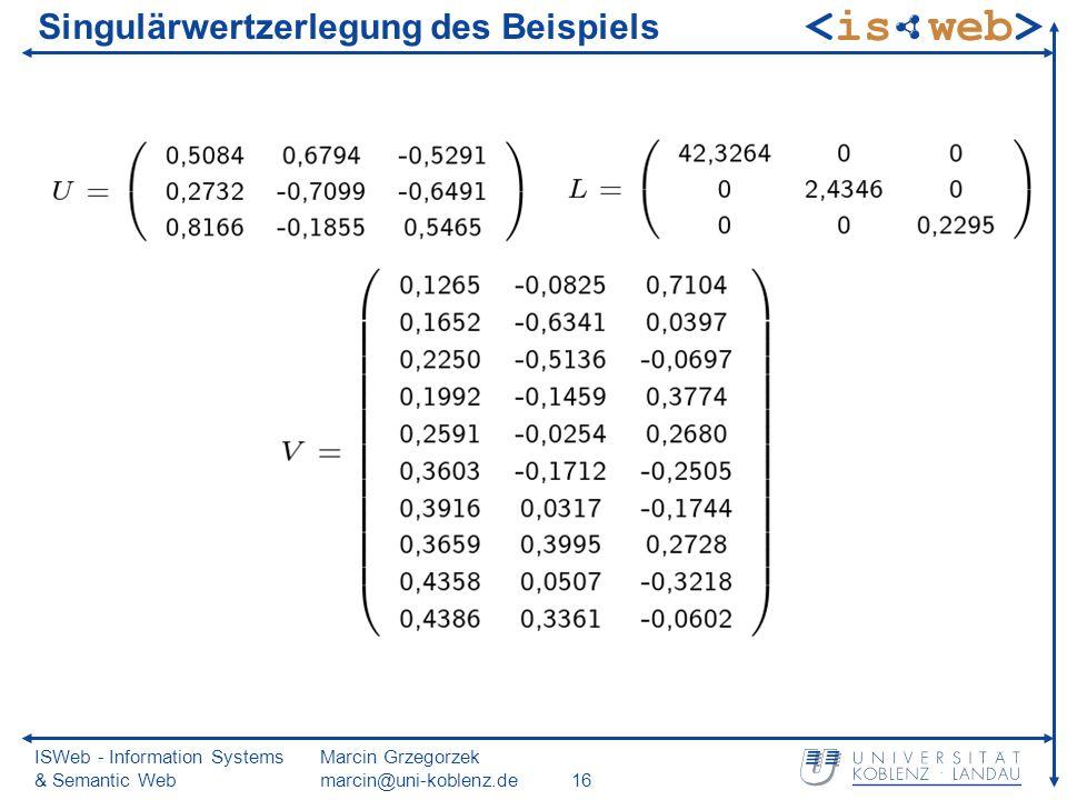 ISWeb - Information Systems & Semantic Web Marcin Grzegorzek marcin@uni-koblenz.de16 Singulärwertzerlegung des Beispiels