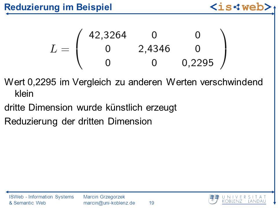 ISWeb - Information Systems & Semantic Web Marcin Grzegorzek marcin@uni-koblenz.de19 Reduzierung im Beispiel Wert 0,2295 im Vergleich zu anderen Werten verschwindend klein dritte Dimension wurde künstlich erzeugt Reduzierung der dritten Dimension