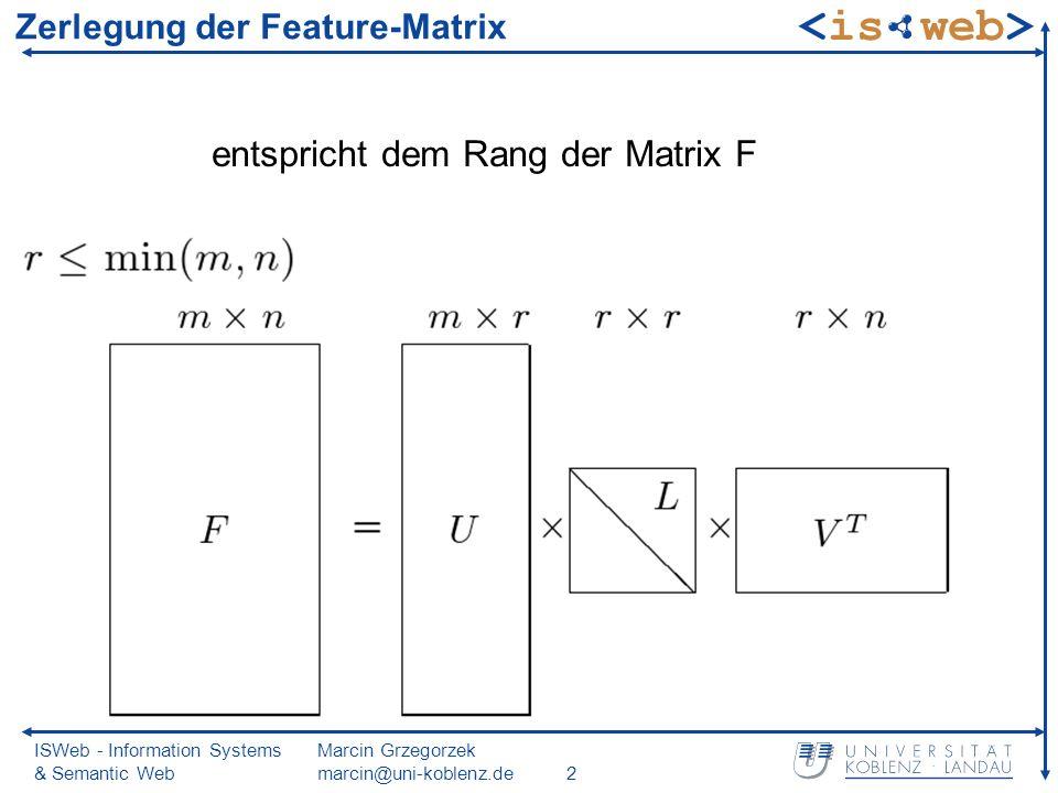 ISWeb - Information Systems & Semantic Web Marcin Grzegorzek marcin@uni-koblenz.de2 Zerlegung der Feature-Matrix entspricht dem Rang der Matrix F
