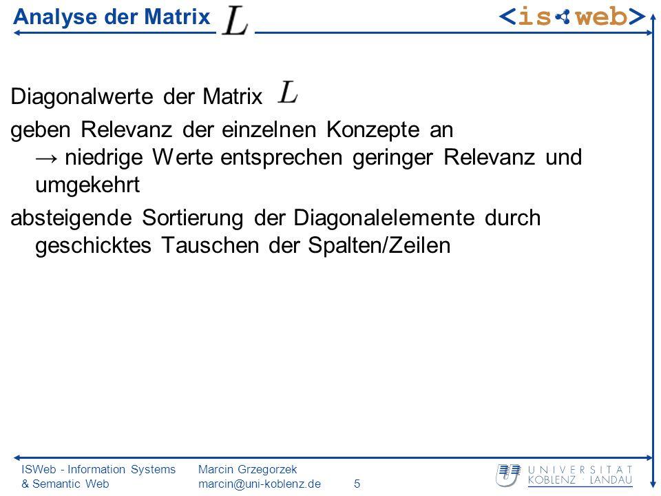 ISWeb - Information Systems & Semantic Web Marcin Grzegorzek marcin@uni-koblenz.de5 Analyse der Matrix Diagonalwerte der Matrix geben Relevanz der einzelnen Konzepte an niedrige Werte entsprechen geringer Relevanz und umgekehrt absteigende Sortierung der Diagonalelemente durch geschicktes Tauschen der Spalten/Zeilen