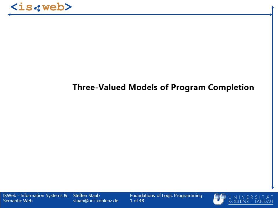 ISWeb - Information Systems & Semantic Web Steffen Staab staab@uni-koblenz.de Foundations of Logic Programming 52 of 48 Fitting Modell Theorem Eine dreiwertige Interpretation I ist genau dann ein dreiwertiges Modell des vollendeten Programms, wenn I = T P (I) N P (I).