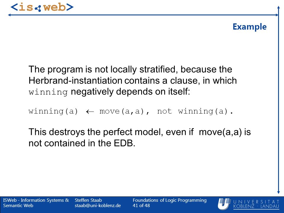 ISWeb - Information Systems & Semantic Web Steffen Staab staab@uni-koblenz.de Foundations of Logic Programming 41 of 48 Example The program is not loc