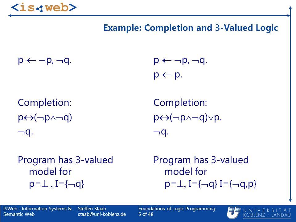 ISWeb - Information Systems & Semantic Web Steffen Staab staab@uni-koblenz.de Foundations of Logic Programming 66 of 48 Verhältnis zwischen S und U P sowie zwischen S und T P Lemma: Sei M ein totales Modell eines Programms P, dann ist Neg(S( M )) = U P ( M ).