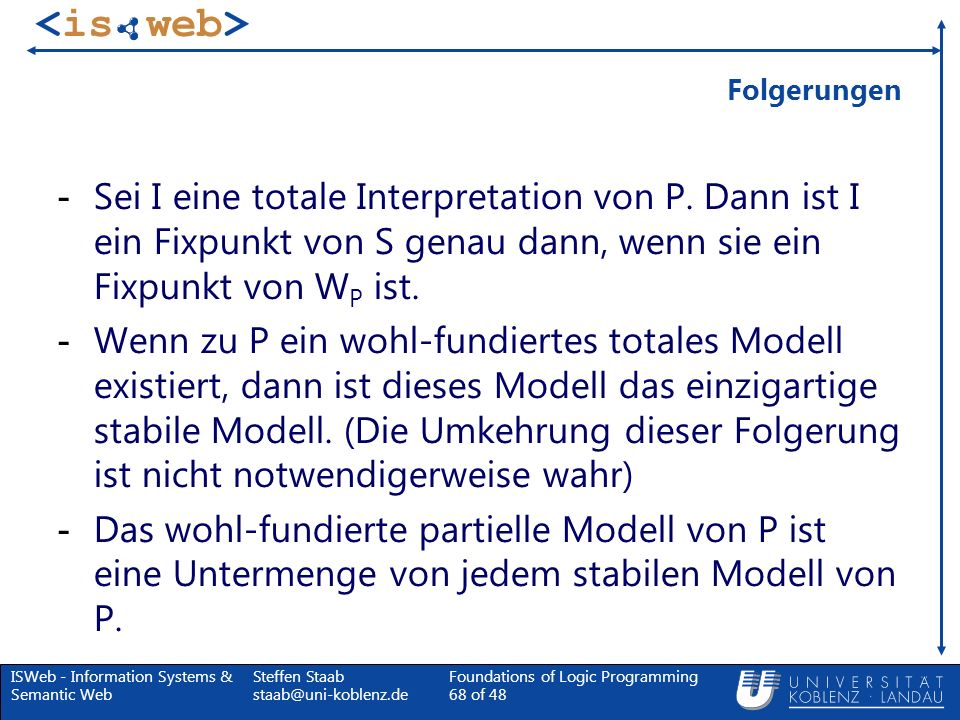 ISWeb - Information Systems & Semantic Web Steffen Staab staab@uni-koblenz.de Foundations of Logic Programming 68 of 48 Folgerungen - Sei I eine total