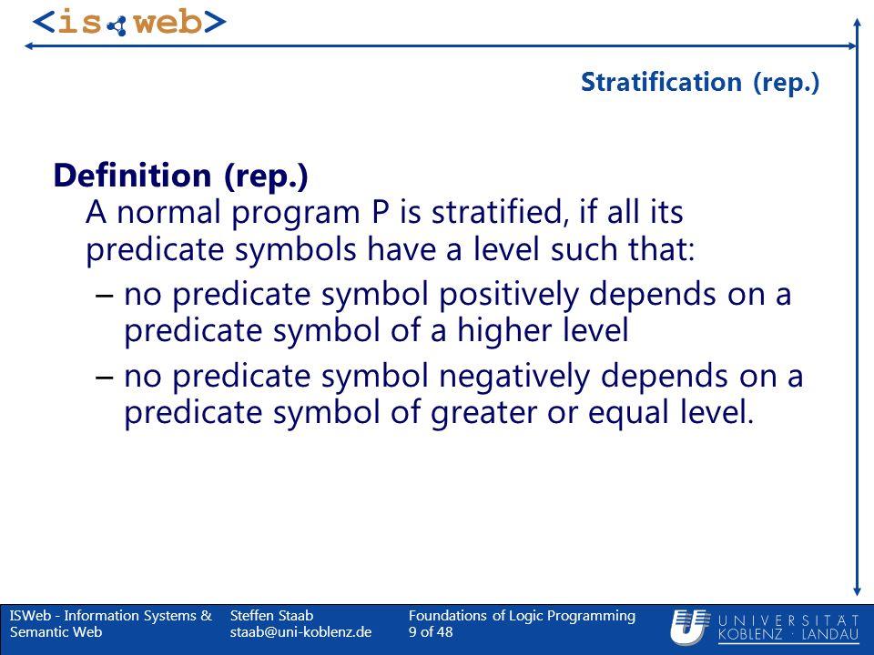 ISWeb - Information Systems & Semantic Web Steffen Staab staab@uni-koblenz.de Foundations of Logic Programming 60 of 48 Stabilitätstransformation Definition (Fortsetzung) 2.Definiere: P = T 2 (P), wobei T 2 die Transformation ist, durch die alle negativen Unterziele aus den Regeln aus P gelöscht werden (ein Hornprogramm hinterlassend).