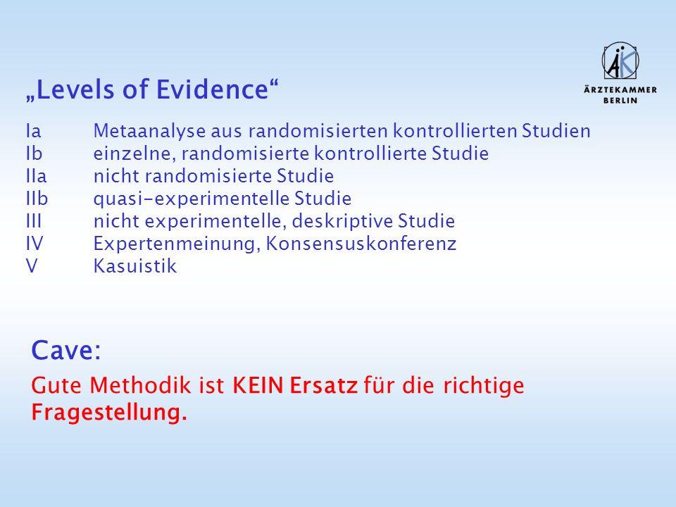 Levels of Evidence IaMetaanalyse aus randomisierten kontrollierten Studien Ibeinzelne, randomisierte kontrollierte Studie IIanicht randomisierte Studi