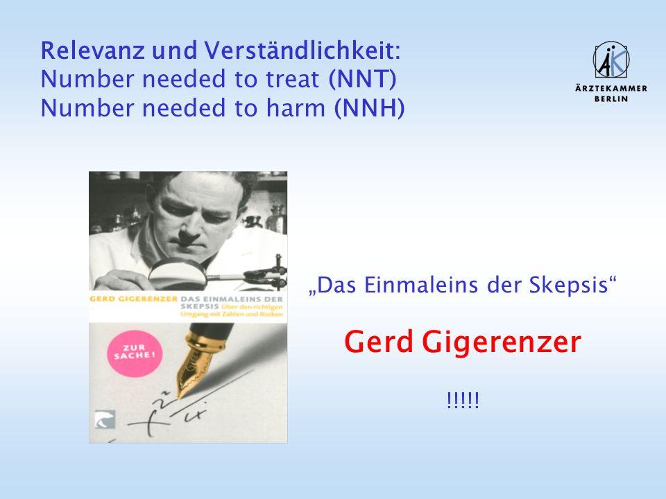 Relevanz und Verständlichkeit: Number needed to treat (NNT) Number needed to harm (NNH) Das Einmaleins der Skepsis Gerd Gigerenzer !!!!!