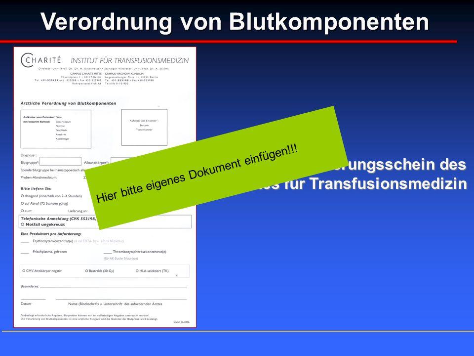 Verordnung von Blutkomponenten Aktueller Anforderungsschein des Institutes für Transfusionsmedizin Hier bitte eigenes Dokument einfügen!!!