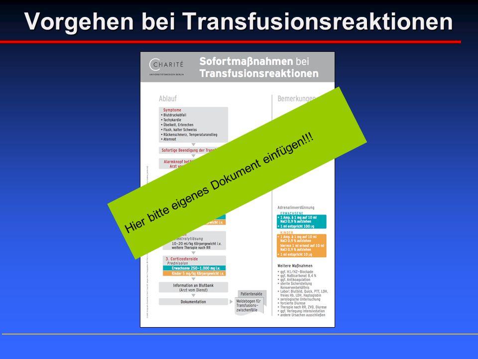 Vorgehen bei Transfusionsreaktionen Hier bitte eigenes Dokument einfügen!!!