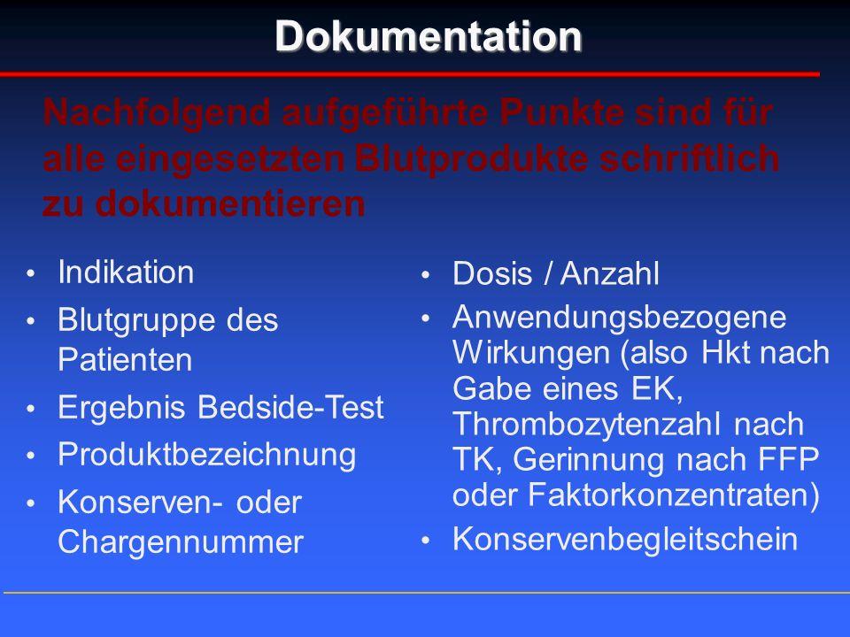 Dokumentation Indikation Blutgruppe des Patienten Ergebnis Bedside-Test Produktbezeichnung Konserven- oder Chargennummer Dosis / Anzahl Anwendungsbezo