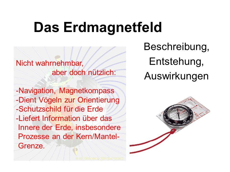 Das Erdmagnetfeld Beschreibung, Entstehung, Auswirkungen Nicht wahrnehmbar, aber doch nützlich: -Navigation, Magnetkompass -Dient Vögeln zur Orientier