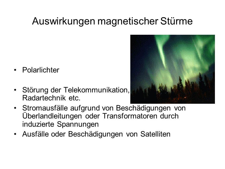 Auswirkungen magnetischer Stürme Polarlichter Störung der Telekommunikation, Radartechnik etc. Stromausfälle aufgrund von Beschädigungen von Überlandl