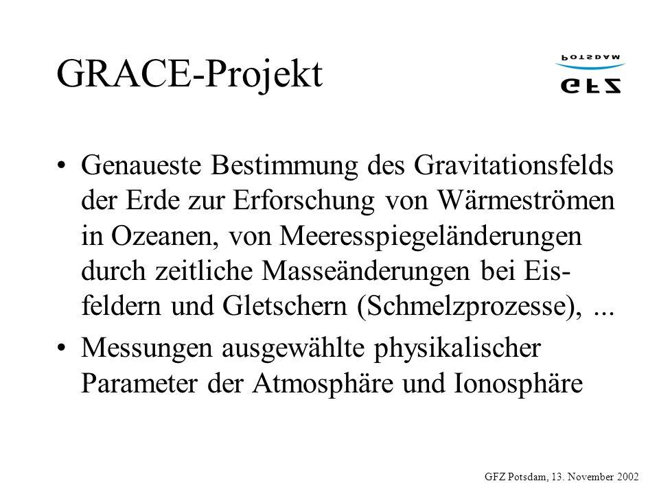 GFZ Potsdam, 13. November 2002 GRACE-Projekt Genaueste Bestimmung des Gravitationsfelds der Erde zur Erforschung von Wärmeströmen in Ozeanen, von Meer
