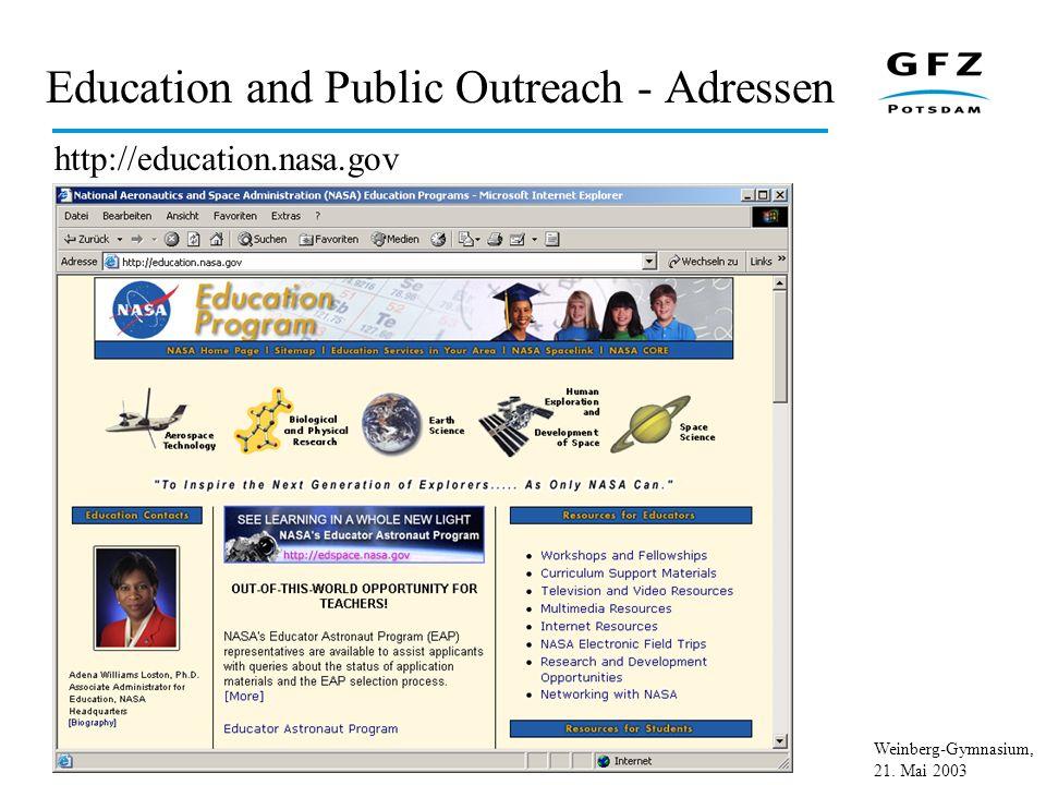 Weinberg-Gymnasium, 21. Mai 2003 Education and Public Outreach - Adressen http://education.nasa.gov