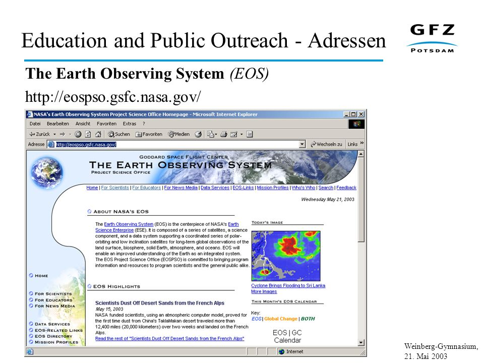 Weinberg-Gymnasium, 21. Mai 2003 Education and Public Outreach - Adressen The Earth Observing System (EOS) http://eospso.gsfc.nasa.gov/