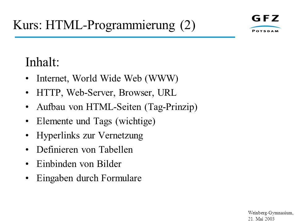 Weinberg-Gymnasium, 21. Mai 2003 Kurs: HTML-Programmierung (2) Inhalt: Internet, World Wide Web (WWW) HTTP, Web-Server, Browser, URL Aufbau von HTML-S